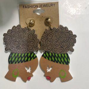Jewelry - CUTE Afro Wooden Earrings